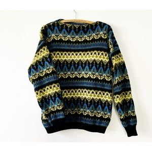 Vintage 60s Shetland Boatneck Sweater L